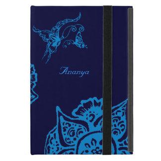 Borboleta com flor (Henna) (azul) Capas iPad Mini