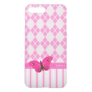 Borboleta cor-de-rosa bonito do teste padrão de capa iPhone 7 plus