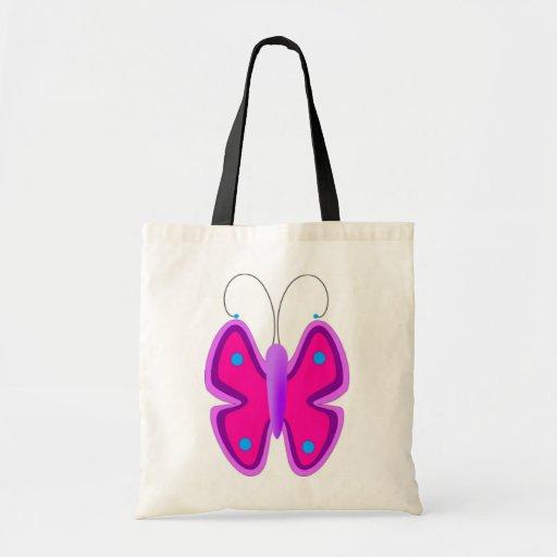 Borboleta cor-de-rosa e azul bolsa de lona