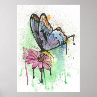 Borboleta da aguarela no poster cor-de-rosa da