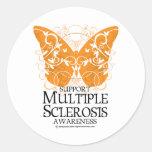 Borboleta da esclerose múltipla adesivos em formato redondos