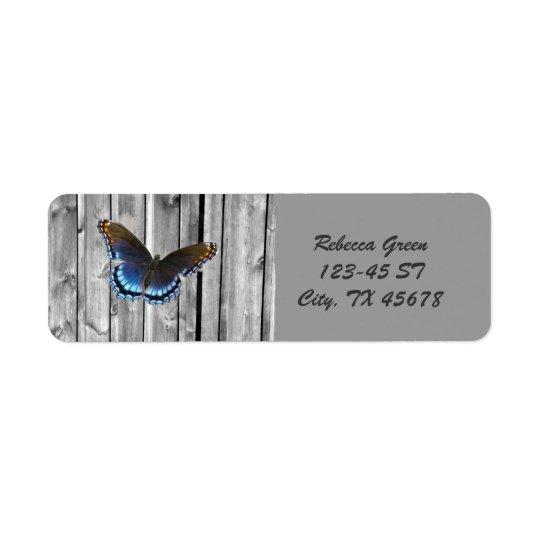 Borboleta de madeira resistida afligida do azul da etiqueta endereço de retorno