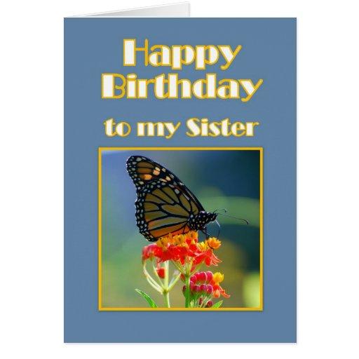 Borboleta de monarca da irmã do feliz aniversario cartao
