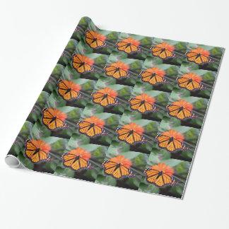 Borboleta de monarca na flor alaranjada papel de presente