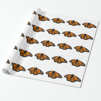Borboleta de monarca preta e alaranjada papel de presente