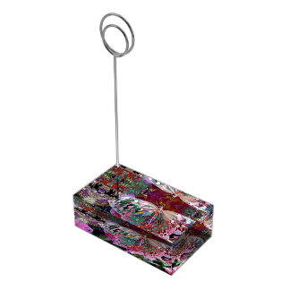 Borboleta do alvorecer da ascensão suportes para cartoes de mesa