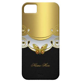 borboleta do branco do preto do ouro verde do capa para iPhone 5