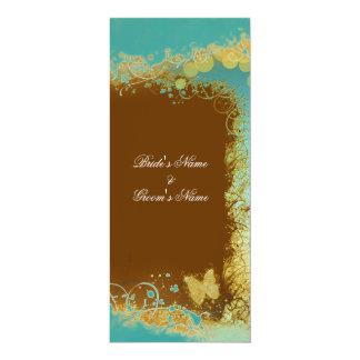 Borboleta do casamento do marrom azul floral convite 10.16 x 23.49cm
