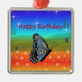 Borboleta do feliz aniversario ornamento quadrado cor prata