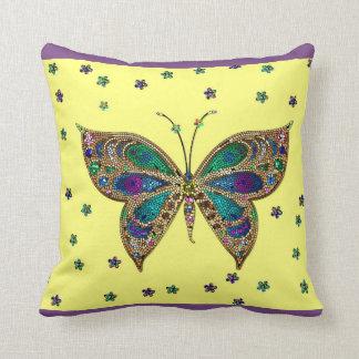 Borboleta do mosaico e travesseiro decorativo almofada