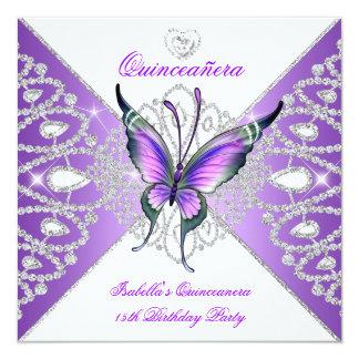 Borboleta do partido de Quinceanera tiara roxa 2 Convite Quadrado 13.35 X 13.35cm