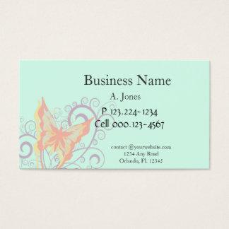 Borboleta do pêssego e redemoinhos do roxo cartão de visitas