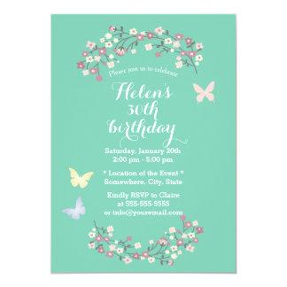 Borboleta do primavera & festa de aniversário convite 12.7 x 17.78cm