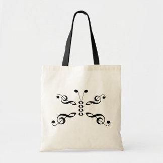 Borboleta dos símbolos de música bolsas para compras