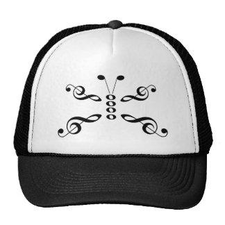 Borboleta dos símbolos de música boné
