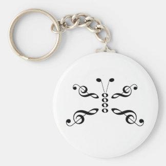 Borboleta dos símbolos de música chaveiro