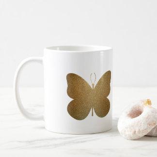 Borboleta dourada bonita, caneca de café da arte