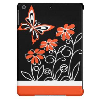 Borboleta e flores alaranjadas impressionantes no capa para iPad air