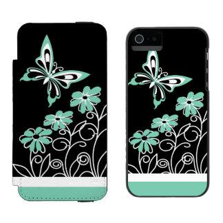 Borboleta e flores impressionantes do verde do capa carteira incipio watson™ para iPhone 5