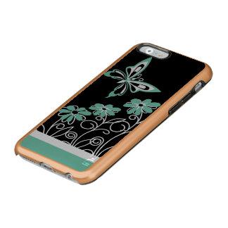 Borboleta e flores impressionantes do verde do capa incipio feather® shine para iPhone 6