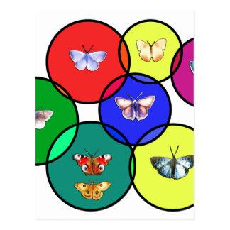 borboleta e mosaicos cartão postal