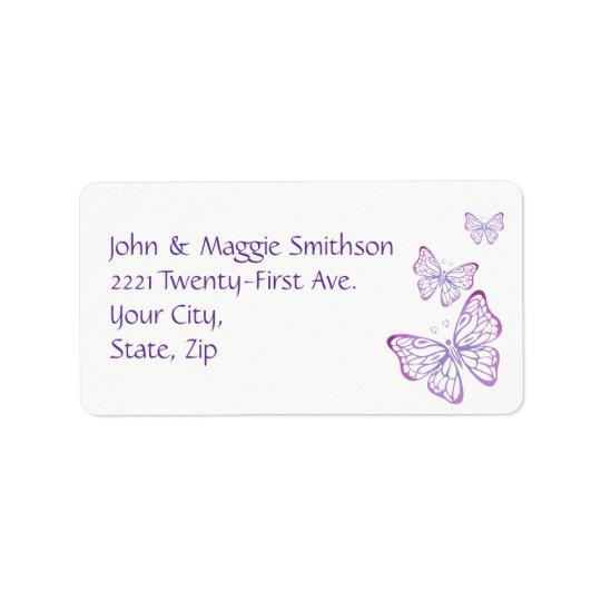Borboleta elegante cor-de-rosa malva roxa do etiqueta de endereço