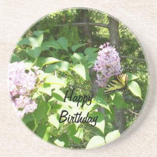 Borboleta em um aniversário de Bush de Lilac Porta Copos De Arenito