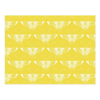 Borboleta estilizado do art deco - amarelo e cartoes postais