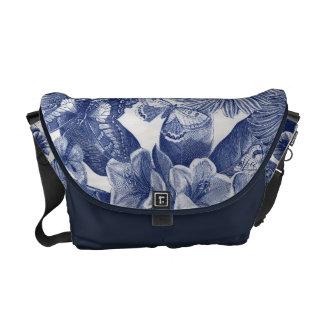 Borboleta floral azul bolsa mensageiro