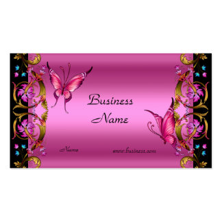 Borboleta floral elegante do preto do rosa do ouro cartão de visita