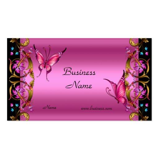 Borboleta floral elegante do preto do rosa do ouro cartoes de visitas