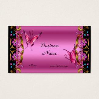 Borboleta floral elegante do preto do rosa do ouro cartão de visitas