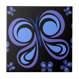 Borboleta fundo preto azulejos de cerâmica