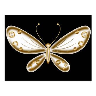 Borboleta lindo e dourada cartão postal