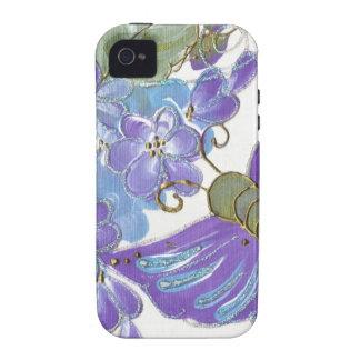 Borboleta lunática & flores azuis e roxas capas para iPhone 4/4S
