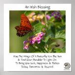 Borboleta na bênção irlandesa do ~ das flores impressão
