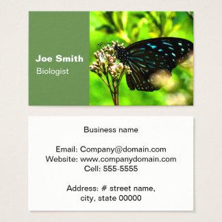Borboleta preta no verde cartão de visitas