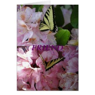Borboleta & rododendro amarelos de Swallowtail Cartão