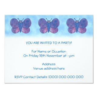 Borboleta roxa convite 10.79 x 13.97cm
