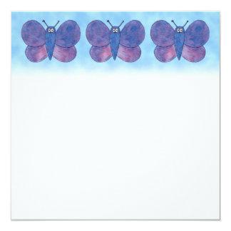 Borboleta roxa convite quadrado 13.35 x 13.35cm