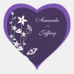 Borboleta roxa da flor do selo | do envelope do adesivo de coração