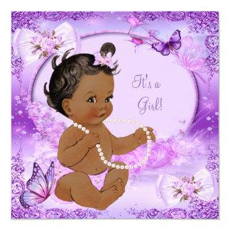 Borboleta roxa do chá de fraldas bonito da menina convite quadrado 13.35 x 13.35cm