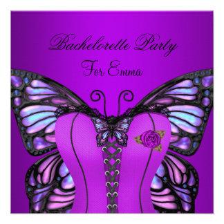 Borboleta roxa do espartilho do Lilac da festa de  Convite