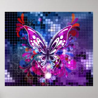 Borboleta roxa no poster 2 do fundo do mosaico