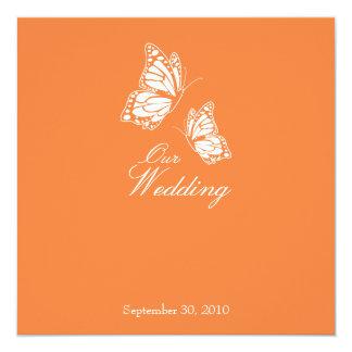 Borboletas alaranjadas simples que Wedding o Convite Quadrado 13.35 X 13.35cm