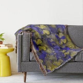 Borboletas azuis amarelas throw blanket