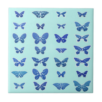 Borboletas, azul, fundo de turquesa azulejo quadrado pequeno