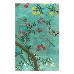 Borboletas bonitas da árvore da flor da antiguidad papelaria