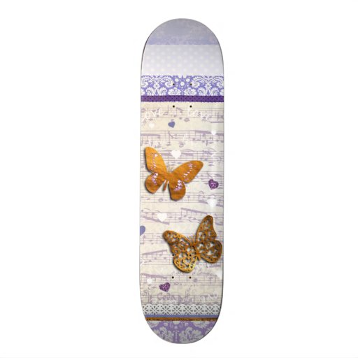Borboletas bonito do roxo & do ouro & colagem da m skateboard