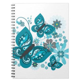 Borboletas & caderno espiral (azul) das flores